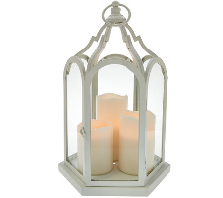 "15"" Cathedral Lantern with 3 Flameless Candles by Home Reflections"