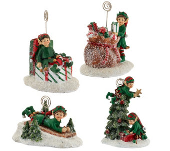 """As Is"" Set of 4 Holiday Character Figures w/ Gift Bags by Valerie - H208329"