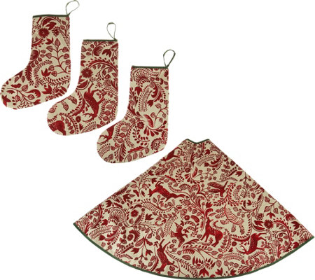 ED On Air Tree Skirt with 3 Matching Stockings by Ellen DeGeneres