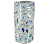 "10"" Mosaic Vine Glass Cylinder w/ Microlights and Timer by Valerie - H210729"