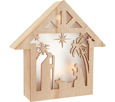 Plow & Hearth Lit Miniature Laser Cut Wood Holiday Scenes