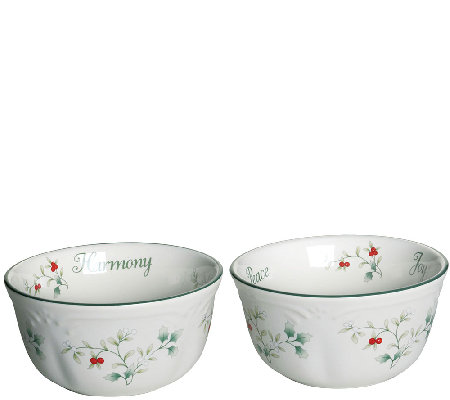 Pfaltzgraff Winterberry Sentiment Dessert Bowls, Set of 2
