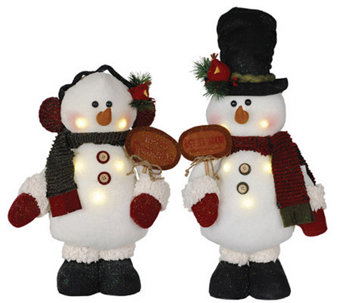 "Set of 2 16"" LED Snowmen by Santa's Workshop - H287329"