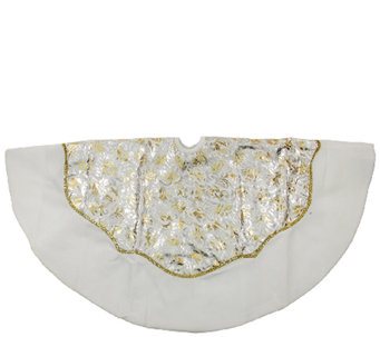 "48"" White Velvet & Metallic Print Tree Skirt by Northlight - H287729"