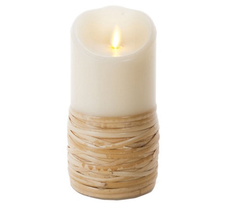 "Luminara 7"" Reed Wrapped Wax Flameless Candle"