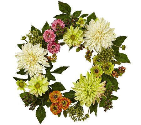 "22"" Dahlia Mum Wreath by Nearly Natural"