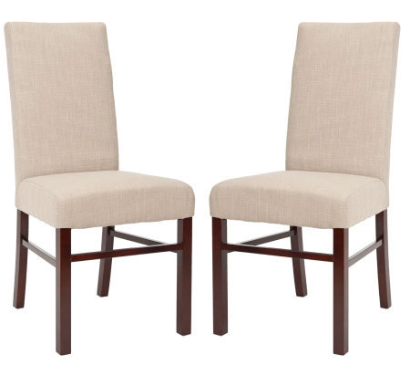 Set of Two Plush Cotton Sand Color High Back Dining Chairs