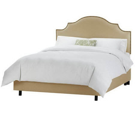 Linda Dano Linen Nail Button Notched Queen Bed