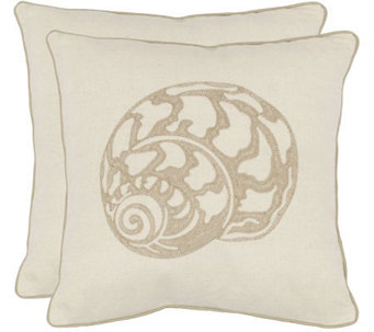 "Safavieh Set of 2 18""x18"" Palmer Seashell Applique Pillows - H360629"