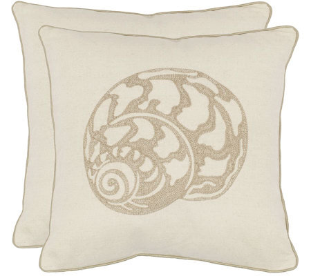 "Safavieh Set of 2 18""x18"" Palmer Seashell Applique Pillows"