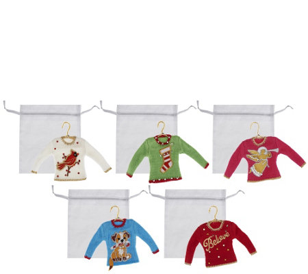 Quacker Factory Set of 5 Holiday Sweater Ornaments