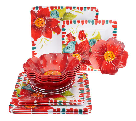 Laurie Gates Floral Embossed 16-pc Melamine Dinnerware Set  sc 1 st  QVC.com & Laurie Gates Floral Embossed 16-pc Melamine Dinnerware Set - Page 1 ...