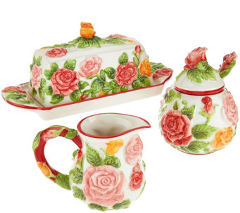 Temp-tations Figural Floral Butter Dish, Sugar & Creamer Set - H204430