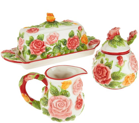 Temp-tations Figural Floral Butter Dish, Sugar & Creamer Set