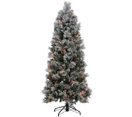 kringle express flocked winter slim christmas tree - White Slim Christmas Tree