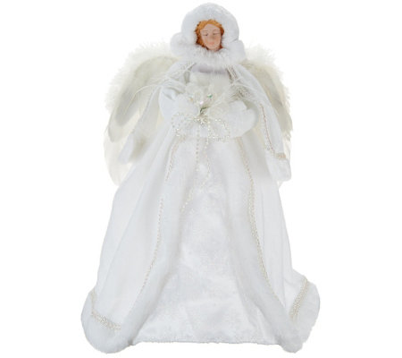 "Winter White 16"" Angel with Faux Fur Accents"