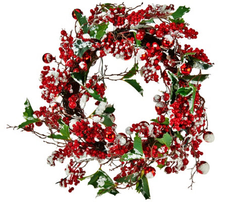 """As Is"" Lit Berry and Holly Wreath or Garland by Valerie"