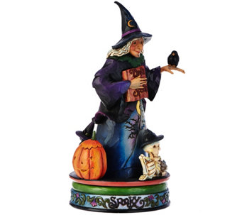 Jim Shore Heartwood Creek Spooky Witch w/ Spinning Halloween Scene - H209530