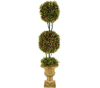 Glittered Boxwood & Berries Topiary with Antiqued Gold Urn - H209830
