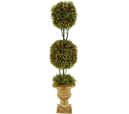 Glittered Boxwood & Berries Topiary with Antiqued Gold Urn