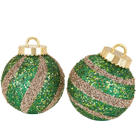 "Kringle Express Indoor/Outdoor S/2 8"" Striped Sequined Ornaments"