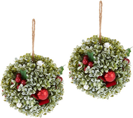 """As Is"" Set of (2) 7"" Boxwood, Berry and Ornament Spheres"