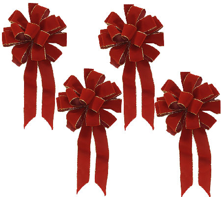 Set of 4 Red Bows with Gold Edge by Valerie