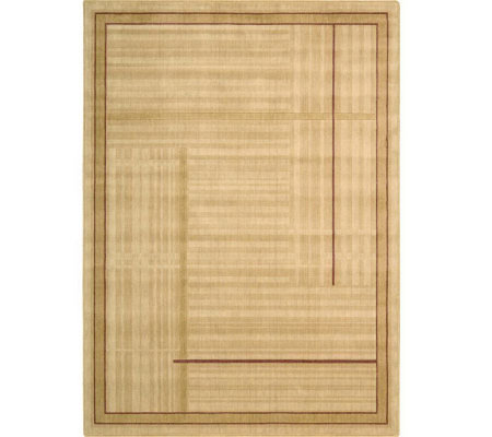 "Nourison Atlas 7'9"" x 10'10"" Lines Gold MachineMade Rug"
