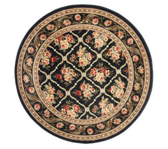 "Lyndhurst Floral Lattice Power Loomed 5'3"" x 5'3"" Round Rug - H356830"