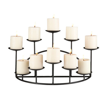 Ten Candle Metal Candelabra