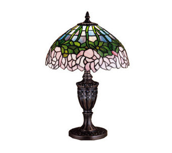 "Meyda Tiffany Style 18"" Cabbage Rose Accent Lamp - H122431"