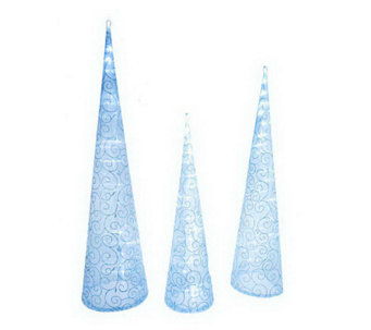 """As Is"" Kringle Express Set/3 Battery Op. Fabric Swirl Tower Tree - H204931"