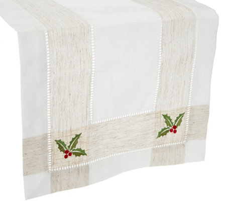 "Charles Gallen 54"" x 14"" Table Runner with Embroidery"