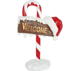 "32"" Illuminated Indoor/Outdoor Candy Cane Welcome Sign by Valerie - H208731"