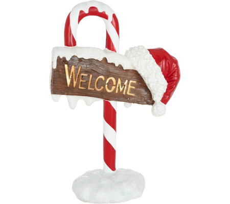 "32"" Illuminated Indoor/Outdoor Candy Cane Welcome Sign by Valerie"