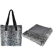 "Dennis Basso Faux Fur Tote Bag with 32x60"" Lap Throw - H209831"