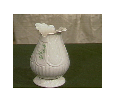Belleek Bunratty Vase w/ Handpainted Shamrocks