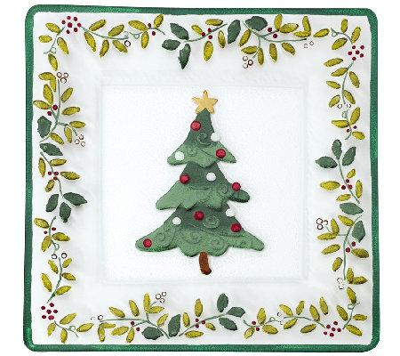 Pfaltzgraff Winterberry Square Glass Platter