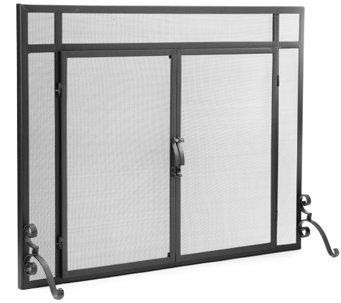 Plow & Hearth Small Classic Flat Guard Fire Screen with Doors - H287431