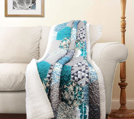 Briley Turquoise Sherpa Throw by Lush Decor