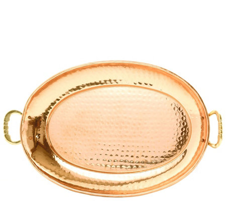 Old Dutch International Copper Oval Tray w/ Cast Brass Handle
