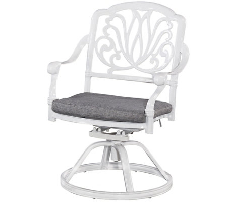 Floral Blossom White Swivel Chair with Cushion