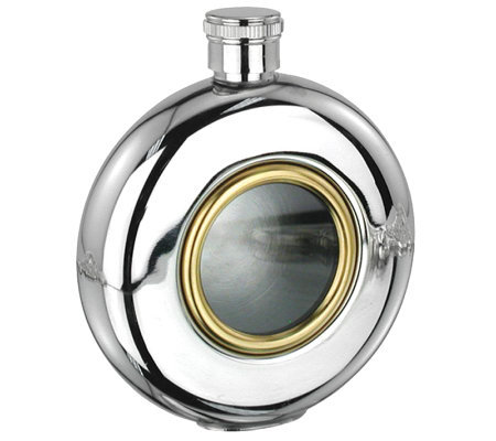 5oz Glass Window Stainless Steel and Goldtone Round Flask