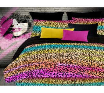 Veratex Rainbow Leopard Queen Comforter Set - H351531