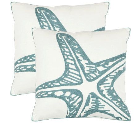 "Safavieh Set of 2 18""x18"" Whitney Starfish Applique Pillows"