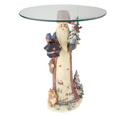 Fiber Optic Musical Glass Top Table w/ Santa or Snowman Base