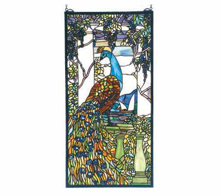 Tiffany Style Tiffany Peacock Window Panel