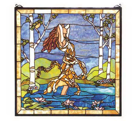Tiffany Style Ecstasy in Woodland Stream WindowPanel