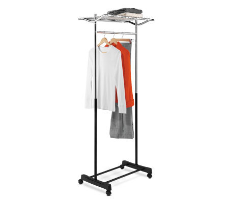 Honey-Can-Do Garment Rack with Top Shelf, Grid-Chrome/Black
