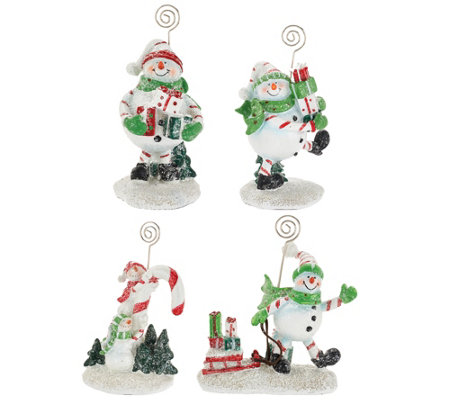 4-piece Holiday Character Figures with Gift Bags by Valerie